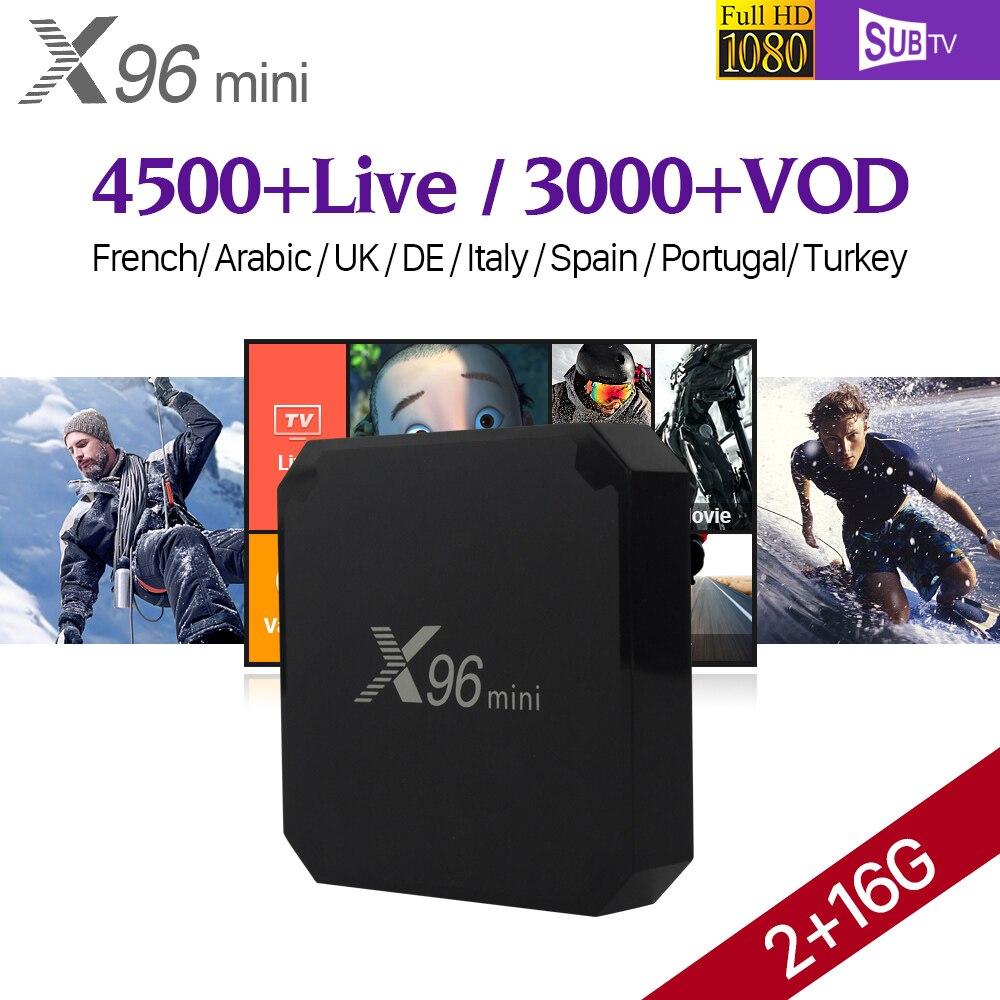 X96 mini 2 GB 16 GB Android 7,1 Smart TV caja Amlogic S905W Quad Core 4 K H.265 Set Top caja 1 año SUBTV árabe francés IPTV Top Box