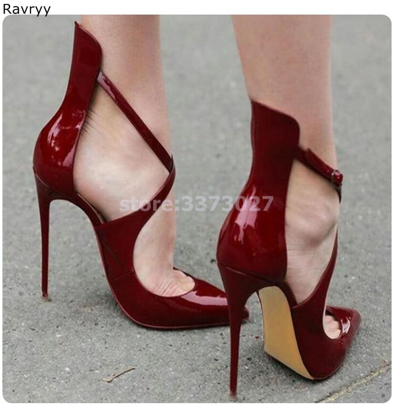 Цвет красного вина женские Обувь на высоком каблуке; пикантные туфли с острым носком на тонком каблуке; туфли с крышка насоса Без каблука; же...