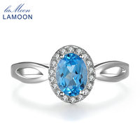 Lamoon Classic 5x7mm 100 Natural Oval Blue Topaz 925 Sterling Silver Jewelry Platinum Wedding Ring S925