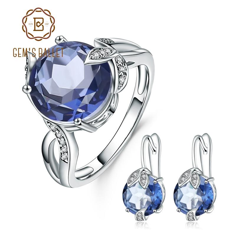 Gem s Ballet Natural Iolite Blue Mystic Quartz Gemstone Earrings Ring Set Pure 925 Sterling Silver