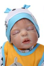 Full Silicone vinyl 57cm Reborn Boy GIRL Baby Doll Handmade Soft Silicone Lifelike Toys Kids Pacifier Gift for Children