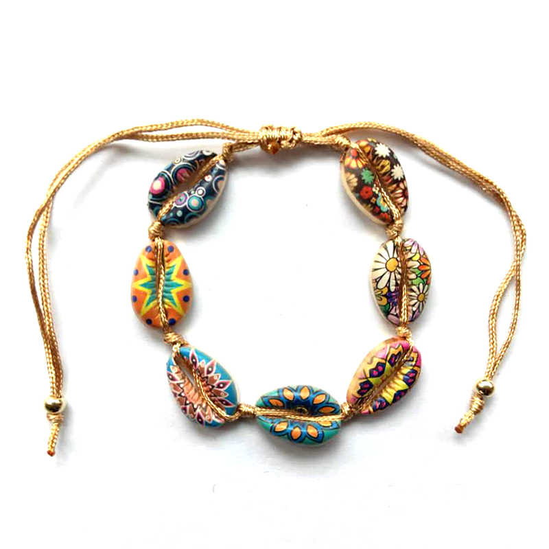 Lucky Bohemia Shells Bracelet Rope Braided Colorful Seashell Beads Bracelets for Women Beach holiday adjustable Jewelry gift