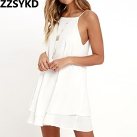 ZZSYKD 2018 Summer Sexy Mini Backless Sling White  ...