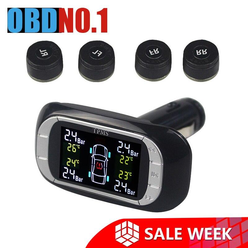 TPMS Security Alarm Smart Car TPMS Tire Pressure Monitoring System 12V Cigarette Lighter Charger Digital LCD