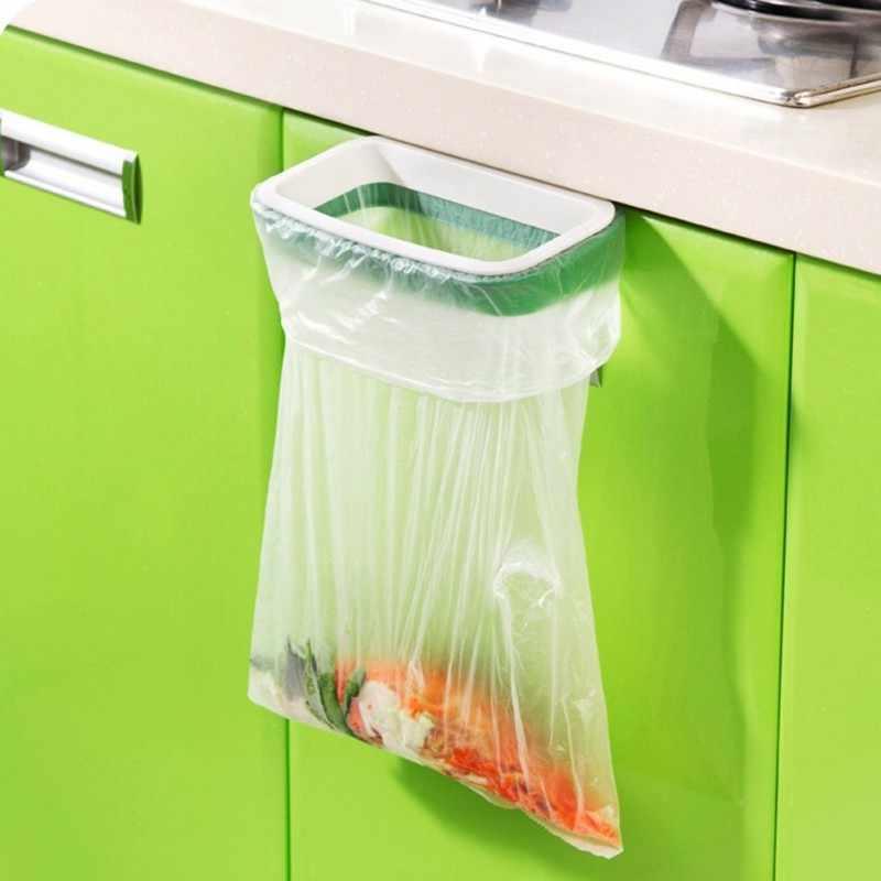 Colgante para alacena de cocina puerta basura estantes de almacenamiento cubo de basura soporte bolsa de basura de almacenamiento de bolsas de