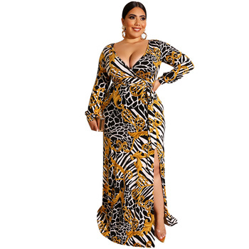 Mirsicas Plus Size Stripe Printed V-Neck Long Sleeve Casual Maxi Long Dress