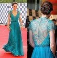 Vestido kate middleton Blue Lace Dresses For Party Long V Neck Floor Length Celebrity Evening Gowns With Sleeves
