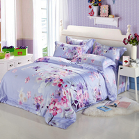 4pcs Bamboo Fiber Imitated Tencel Summer Luxury Bedding Set Bohemia Style Bed Set King Queen Bed