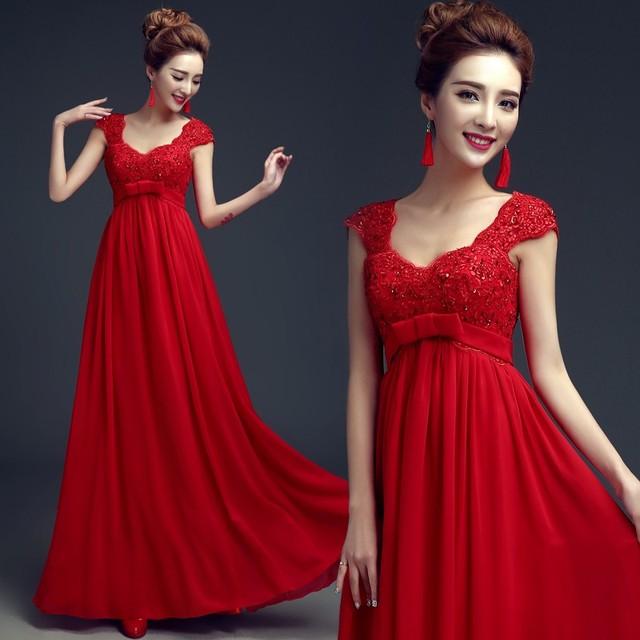 madre de la novia vestido 2018 nuevo largo rojo vestidos de noche