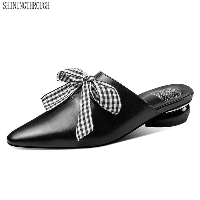 Sandales femmes bout pointu pantoufles femmes noeud papillon Mules chaussures femme talon carré bas été glisse extérieur pantoufles