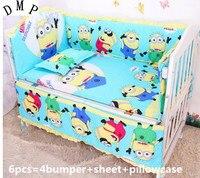 ¡Promoción! Juego de ropa de cama de bebé de 6 piezas, juego de cama de cuna de algodón puro, incluye (parachoques + hoja + funda de almohada)