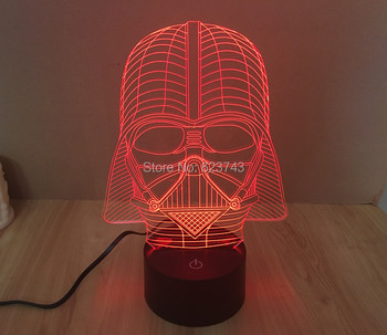 Free Shipping 1 Piece 3D led Mood Lamp Bulb Lighting 3D Star Wars Darth Vader LED little Dimmable Night Light holiday light