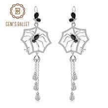 GEM'S BALLET 100% 925 Sterling Sliver Spider Shape Tassel Long Earrings Gothic Punk Drop Earrings Fo