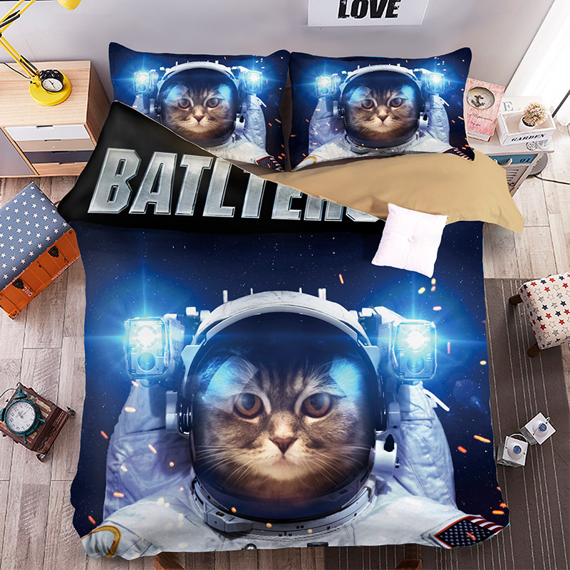 space cat beddengoed printed bedding single twin queen king size 3/4PC bedspread galaxy pillowcases kid japan style home textilespace cat beddengoed printed bedding single twin queen king size 3/4PC bedspread galaxy pillowcases kid japan style home textile