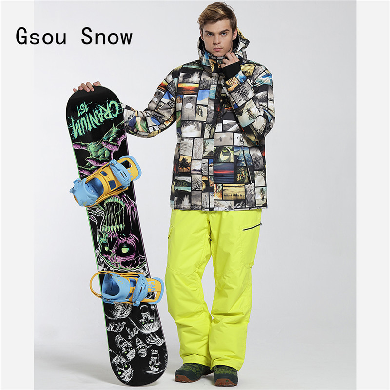 Gsou Snow Men Ski Jacket+Pants Windproof Waterproof Outdoor Sport Super Warm Skiing Snowboard Suit Male Coat Trouser Winter Set цена