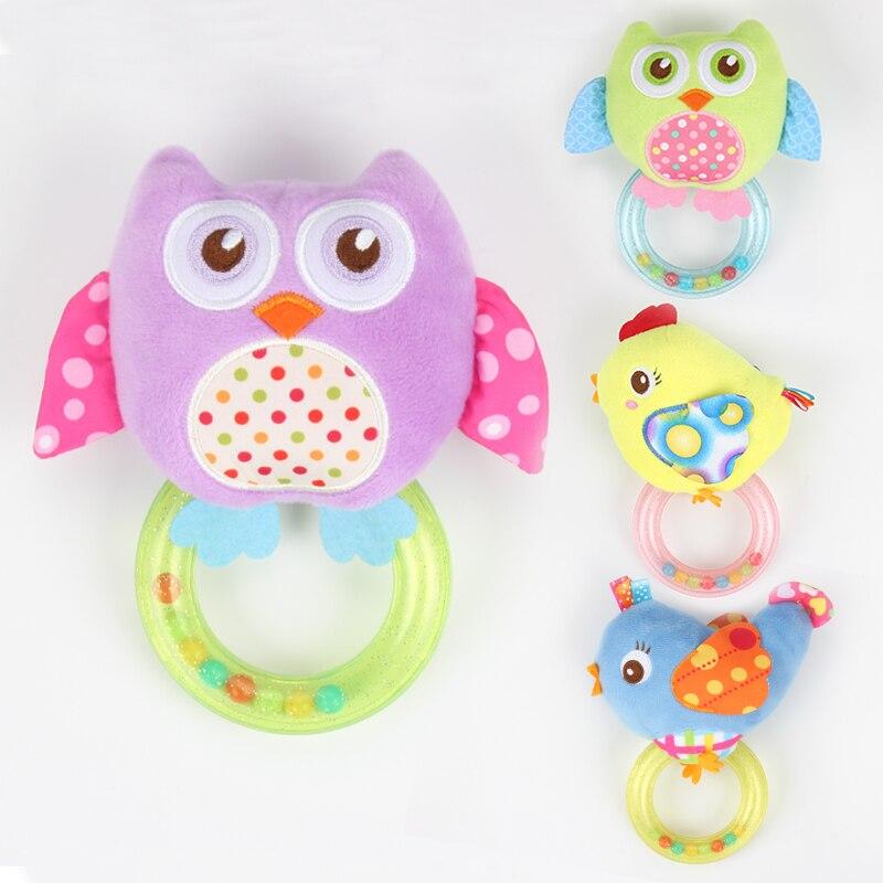 1pc Cartoon Owl Bird Baby Toys Soft Plush BB Kids Toys Animals Handbells Rattles Newborn Toddlers Stuffed Toy Ring Bell
