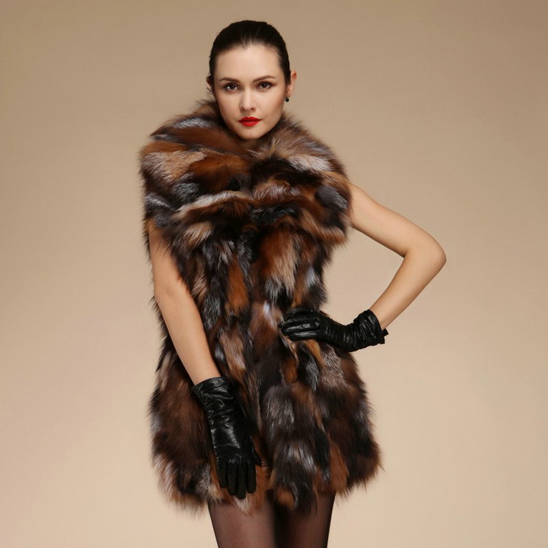 Real Natural Genuine  Fox Fur Vest  Women Fashion Sliver Fox Fur Gilet With Collar Jackets Ladies Outwear Custom Any Size