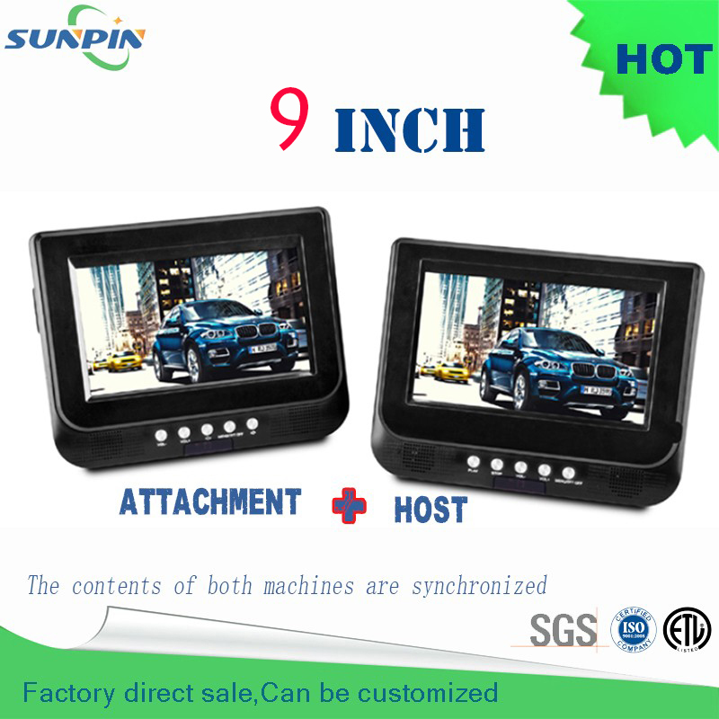 Dvd 9 inch double din Car Vcd Portable Dvd Player Support For Sd / Ms Mmc Card car pillow headrest mounted kids for travelling transctego dvd player portable car tv 13 9 inch big player lcd screen for game fm dvd vcd cd mp3 mpeg4 gamepad anolog tv antenna