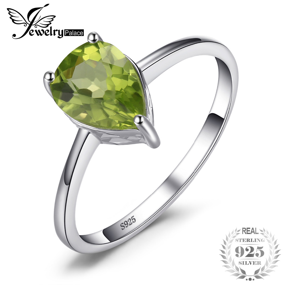 JewelryPalace Pear 1.3ct Natural Green Peridot Birthstone Solitaire Ring 925 Sterling Silver Fashion Brand Jewelry Big Promotion jewelrypalace trillion 1 1ct natural purple amethyst solitaire ring 100% 925 sterling silver women fashion jewelry big promotion