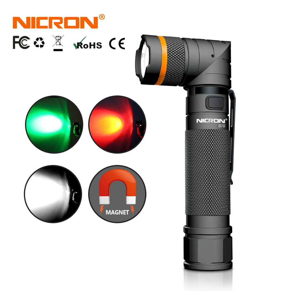 NICRON High Brightness Twist LED Flashlight Handfree Waterproof Magnet 90 Degree Corner Rechargeable Camo LED Torch B70 / B70-P