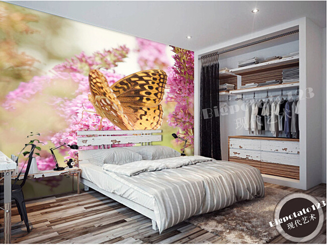 The  custom 3D murals, Butterfly on the flowers   , the living room sofa TV wall bedroom background wall paper stephane pompougnac living on the edge