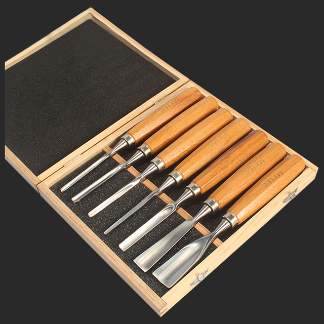 Wood Chisels Set Sharpening Wooden Handle Round Shape 7 Pieces Carpenter Woodworking Carving Knife