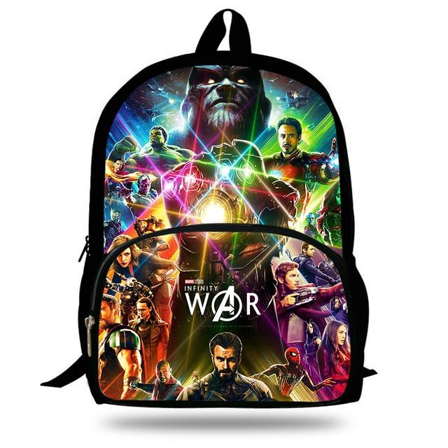 16 Inch Mochila School Kids Backpack Avengers Infinity War Printing Cartoon Children Bags Boys