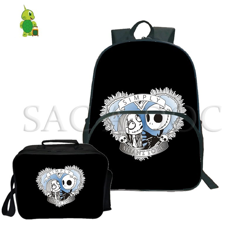 The Nightmare Before Christmas Jack Sally 2Pcs/Sets Backpack Laptop Bags for Teenagers School Travel Rucksack with Cooler BagThe Nightmare Before Christmas Jack Sally 2Pcs/Sets Backpack Laptop Bags for Teenagers School Travel Rucksack with Cooler Bag