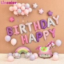 16 дюймовые фольгированные шары «С Днем Рождения» для маленьких мальчиков и девочек, первый день рождения, 1 год, вечерние украшения для детей, флаги украшения для взрослых