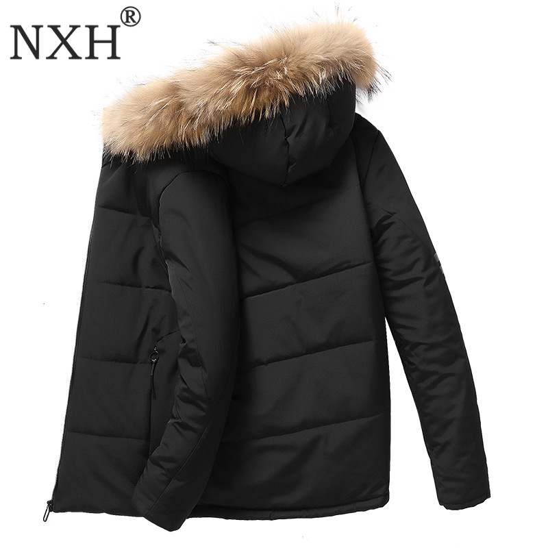 NXH Men winter fur coat thick 9XL large size mens lining fur warmjackets and coats -30degree   parka   plus size windbreak fur brand