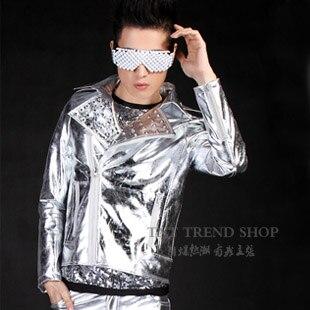 O envio gratuito de roupas masculinas moda rebite prata trajes de roupas de  couro da motocicleta Locomotiva BRASÃO JAQUETA de couro M-XL 33bf8cca48