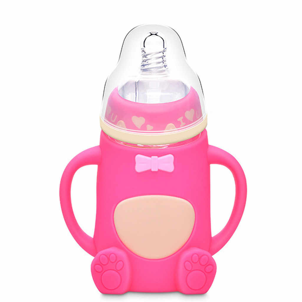 เด็กทารก mamadeira น่ารักเด็กแก้วขวดซิลิโคนนมจับขวดนมเด็ก biberon botella garrafa
