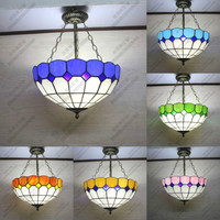 Hot Mediterranean Sea 6 Colors Handmade Tiffany Glass Led E27 Hanging Pendant Light For Dining Room