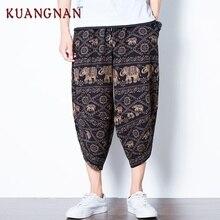 KUANGNAN укороченные Мужские штаны для бега, Японская уличная одежда для бега, Мужские штаны в стиле хип-хоп, спортивные штаны, мужские брюки, весна