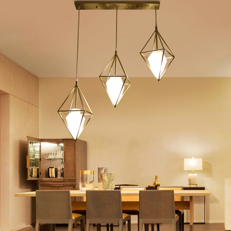 droplight of contemporary and contracted three led table light personality diamond bar full copper American droplight contemporary and contracted creative personality full copper lamp droplight bedroom restaurant corridor lamps and lanterns