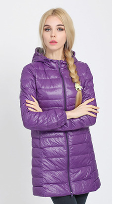 Зимняя женская куртка, новинка, тонкий пуховик с капюшоном, женский теплый пуховик, ультра легкие куртки, портативная парка на утином пуху, 6XL - Цвет: Purple