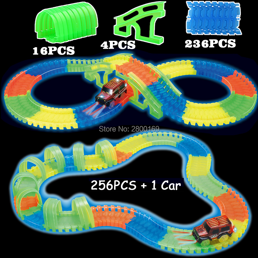 Glow-race-track-Bend-Flex-Glow-in-the-Dark-Assembly-Toy-112160256300PCS-Slot-Race-Track-1PC-LED-Car-Puzzle-Educational-Toys-1