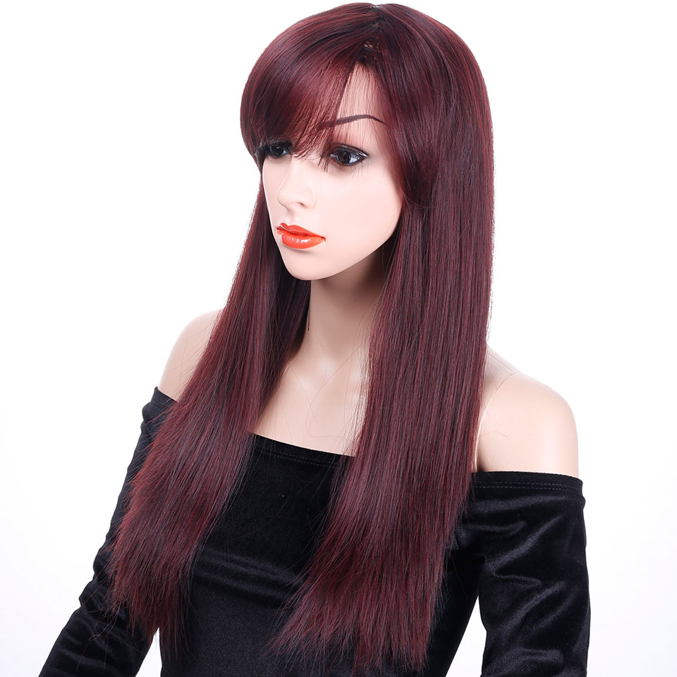 JINKAILI WIG Long Staight Dark Red Wigs With Bangs Heat Resistant Synthetic Hair Wigs With Bangs Wigs Cosplay Party Hair
