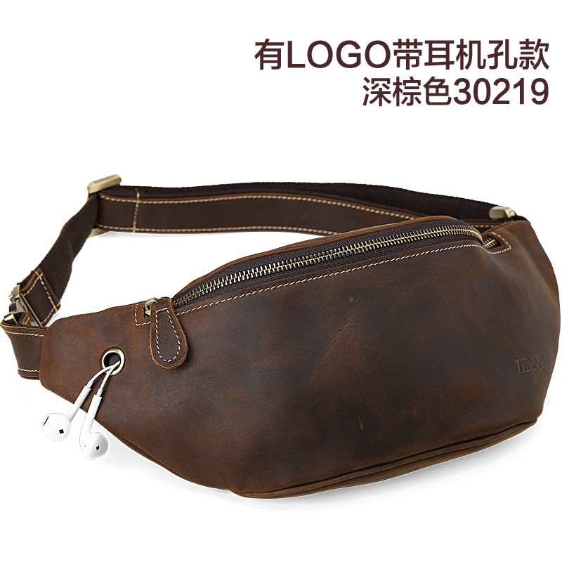 Crazy Horse Genuine Leather Mens Waist Bag Travel Fanny Pack Belt bag man men 39 s multifunction travel bags funny chest pack men in Waist Packs from Luggage amp Bags