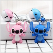 Cute Cartoon Doll Stitch Action Toy Figure Keychain Child Toy Animal Leather Rope Bells Key Ring Trinkets Accessories Gift