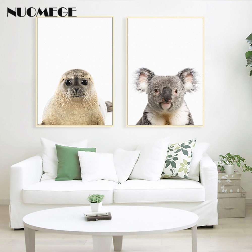 HTB1InR XhrvK1RjSszeq6yObFXac NUOMEGE Baby Animal Poster Panda Giraffe Elephant Canvas Painting Nursery Wall Art Nordic Picture Kid's Bedroom Decoration