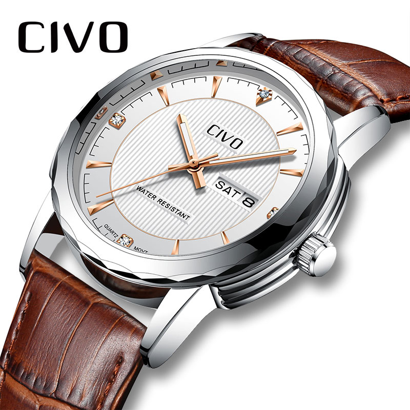 CIVO Men Watches Waterproof Analogue Watch for Man Business Casual Genuine Leather Watch Gents Date Calendar Quartz Wrist Watch fashion casual watch men civo waterproof date calendar analogue quartz men wrist watch brown genuine leather watch for men clock