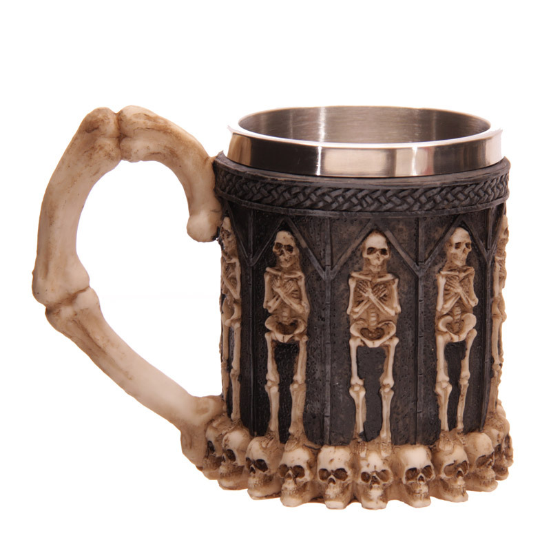 Free Shipping 1Piece Halloween Decor Resin & Stainless Steel Skull <font><b>Ghost</b></font> Crypt Tankards Creepy Coffee Mug <font><b>Cup</b></font>