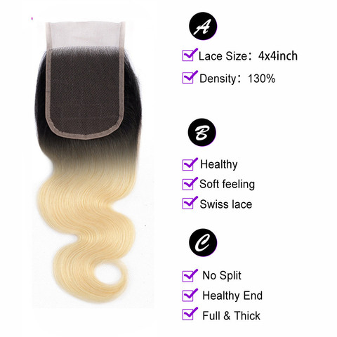 bling hair 1b/613 Blonde Brazilian Hair Body Wave Lace Closure 4*4 Free/middle/three Part Human Hair Closure 100% Remy 8-22 Inch Lahore
