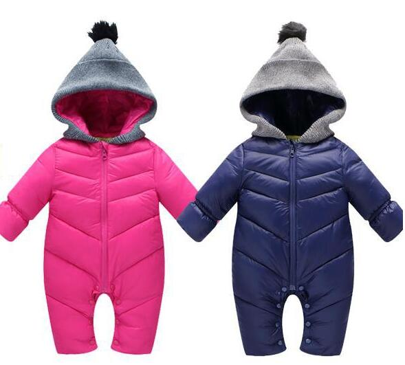 Newborn Baby Winter Clothes Baby Warm Snowsuit Duck Down Rompers Windproof New Born Boys Girls Thcik Winter Fur Hooded Sportsets 2015 new arrive baby winter baby girls boys clothes thick warm newborn baby snowsuit down rompers kids clothing 1 4 years