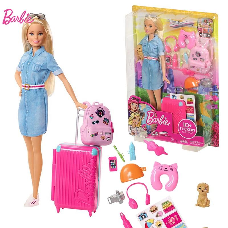 オリジナルバービーブランド旅行プリンセスアメリカ人形ベビー誕生日ギフト女の子のおもちゃ Boneca Juguetes 子供のための  グループ上の おもちゃ & ホビー からの 人形 の中 1