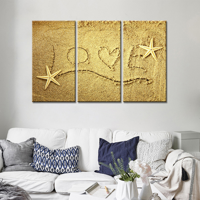 Love and Starfish on the Beach Picture 3 Pieces Canvas Wall Art HD ...
