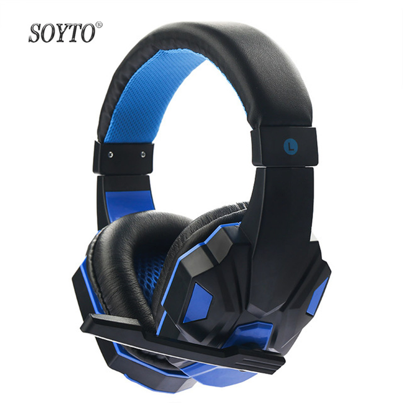 SOYTO SY830MV Computer Headset Built In HD Mic Gamers Noise Cancelling Volume Control Over Ear Gaming Headphones With LED light high quality sound effect gaming headset with led light over ear glowing stereo headphones with mic for computer pc laptop gamer