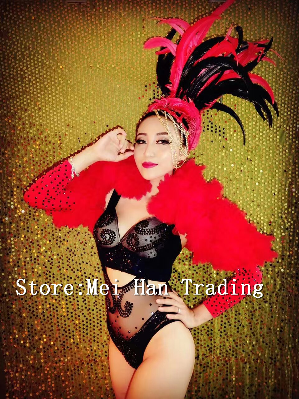 Independent Sexy Black Rhinestone Bodysuit Outfit Feather Headdress Women's Bar Dance Costume Stage Show Perspective Nightclub Singer Wear Fragrant (In) Flavor