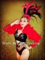 Sexy Negro Rhinestone Traje traje Bar Traje de la Danza Demostración de la Etapa Tocado De Plumas de Las Mujeres Perspectiva Discoteca Cantante Wear
